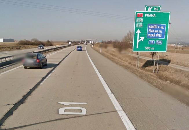 D1, sjezd na 162. km směrem od Brna