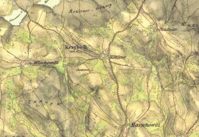 Mapa okolí z 19. století